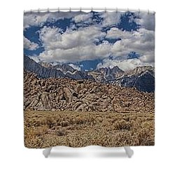 Shower Curtain featuring the photograph Alabama Hills And Eastern Sierra Nevada Mountains by Peggy Hughes