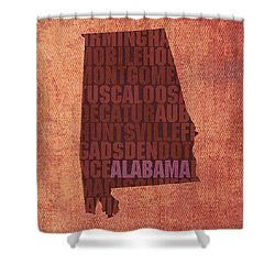 Alabama Word Art State Map On Canvas Shower Curtain by Design Turnpike