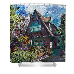 Alameda 1907 Traditional Pitched Gable - Colonial Revival Shower Curtain by Linda Weinstock