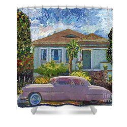 Alameda 1908 House 1950 Pink Dodge Shower Curtain by Linda Weinstock