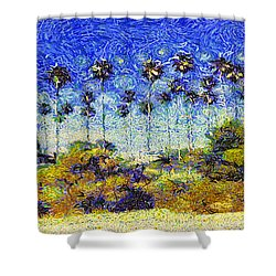 Alameda Famous Burbank Palm Trees Shower Curtain by Linda Weinstock