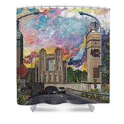 Alameda Webster Posey Tube Portal 1928 Shower Curtain by Linda Weinstock