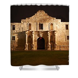 Alamo Mission Entrance Front Profile At Night In San Antonio Texas Shower Curtain