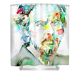 Alan Watts Watercolor Portrait Shower Curtain by Fabrizio Cassetta