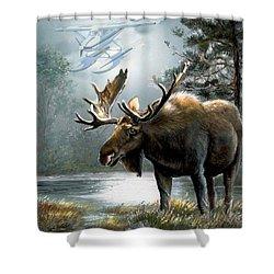 Alaska Moose With Floatplane Shower Curtain by Regina Femrite