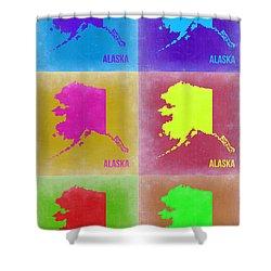 Alaska Pop Art Map 2 Shower Curtain by Naxart Studio