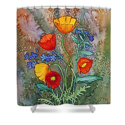 Alaska Poppies And Forgetmenots Shower Curtain