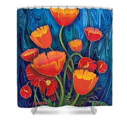 Shower Curtain featuring the mixed media Alaska Poppies by Teresa Ascone