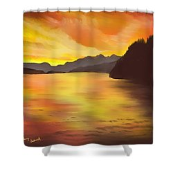 Shower Curtain featuring the painting Alaska Sunset by Terry Frederick
