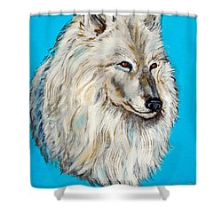 Shower Curtain featuring the painting Alaska White Wolf by Bob and Nadine Johnston