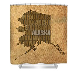 Alaska Word Art State Map On Canvas Shower Curtain by Design Turnpike