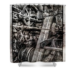 Alaskan Gold-dredge Bucket Gear Train Shower Curtain by Daniel Hagerman