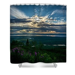 Alaskan Summer Sunset Shower Curtain by Andrew Matwijec