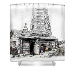 Shower Curtain featuring the photograph Alaska's Salty Dawg Saloon In B/w  by Dyle   Warren