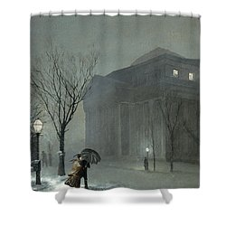 Albany In The Snow Shower Curtain by Walter Launt Palmer