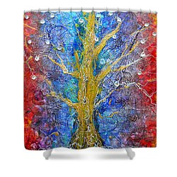 Albedo Tree Of Life 8 Shower Curtain by Regina Valluzzi