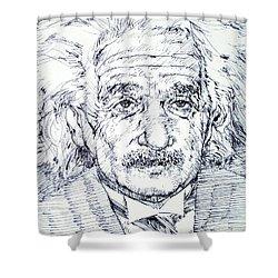 Albert Einstein - Drawing Portrait Shower Curtain by Fabrizio Cassetta