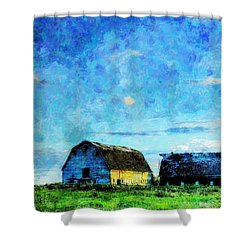 Alberta Barn At Sunset Shower Curtain