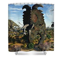 Albertaceratops Dinosaurs Grazing Shower Curtain by Mark Stevenson