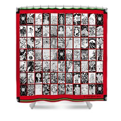 Shower Curtain featuring the painting Album Quilt In Turkey Red And Poison Green by Carol Jacobs