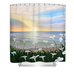 Alcatraces Shower Curtain by Angel Ortiz