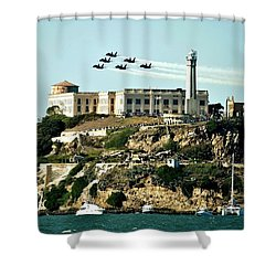 Alcatraz Blues Shower Curtain by Benjamin Yeager