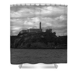 Alcatraz Island B N W Shower Curtain