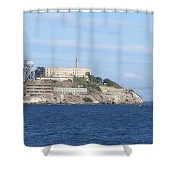 Alcatraz Island Shower Curtain by Mary Mikawoz