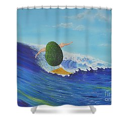 Alex The Surfing Avocado Shower Curtain