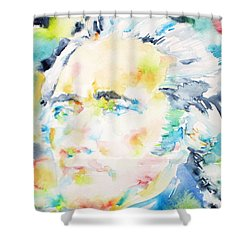 Alexander Hamilton - Watercolor Portrait Shower Curtain by Fabrizio Cassetta