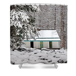 Shower Curtain featuring the photograph Alfred Reagan's Home In Snow by Debbie Green