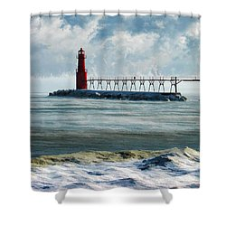 Algoma Pierhead Lighthouse Shower Curtain by Christopher Arndt