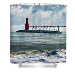 Algoma Pierhead Lighthouse Shower Curtain