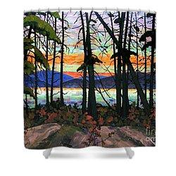 Shower Curtain featuring the painting Algoma Sunset Acrylic On Canvas by Michael Swanson