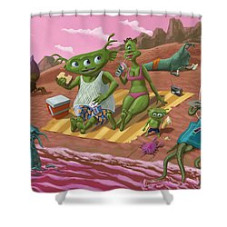 Alien Beach Vacation Shower Curtain by Martin Davey