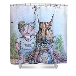 Alien Boy And His Best Friend Shower Curtain