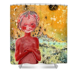 Shower Curtain featuring the painting Alien by Carol Jacobs