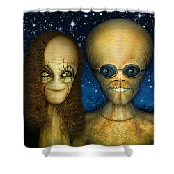 Alien Couple Shower Curtain