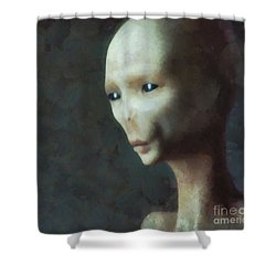 Alien Grey Thoughtful  Shower Curtain by Pixel Chimp