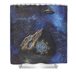 Alien Space Factory Shower Curtain by Murphy Elliott
