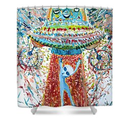 Aliens Abducting An Alien-cosmic Darwinism Shower Curtain by Fabrizio Cassetta