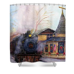 All Aboard At The New Hope Train Station Shower Curtain