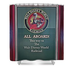 All Aboard Sign Shower Curtain by Thomas Woolworth