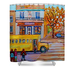 All Aboard The School Bus Montreal Street Scene Shower Curtain by Carole Spandau