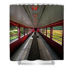 Shower Curtain featuring the photograph All Aboard Tioga Central Railroad by Suzanne Stout