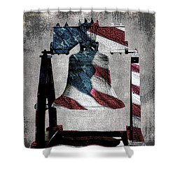 All American Liberty Bell Art_denim Shower Curtain by Lesa Fine