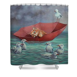 Shower Curtain featuring the painting All At Sea by Cynthia House
