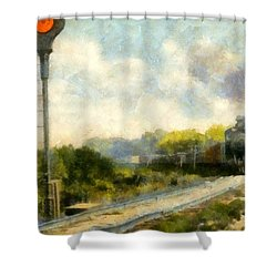 All Clear On The Pere Marquette Railway  Shower Curtain by Michelle Calkins