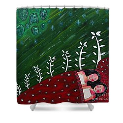 All Sown Up Shower Curtain by Sandra Marie Adams