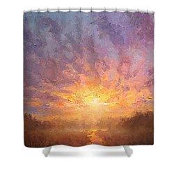 Impressionistic Sunrise Landscape Painting Shower Curtain by Karen Whitworth